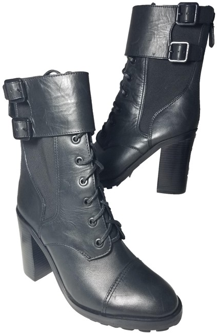 Tory Burch Black Brooke Zip Leather Laces Combat Boots/Booties Size US 9.5 Regular (M, B) Tory Burch Black Brooke Zip Leather Laces Combat Boots/Booties Size US 9.5 Regular (M, B) Image 1