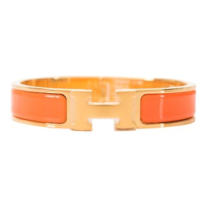 Hermès Hermes Orange Clic Clac H Narrow Enamel Bracelet PM