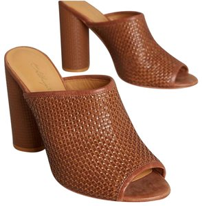 Anthropologie Chunky Woven Leather Brown Mules