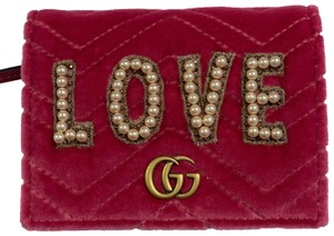 Gucci GG Marmont Velvet Card Case Small Wallet Clutch Pearls Love Theme