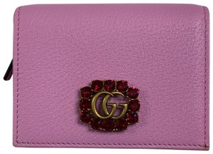 Gucci GG Marmont Leather Card Case Small Wallet With Strass Crystals