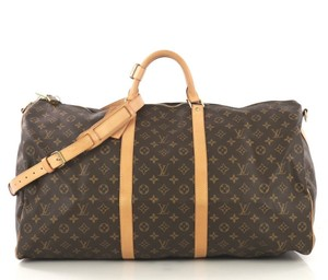 Louis Vuitton Duffle Bandouliere Keepall Cross Body Strap Luggage Brown Travel Bag