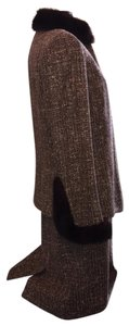 Dana Buchman Tweed & Fur Trimmed Skirt Suit