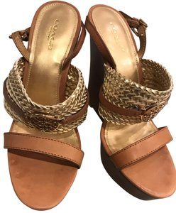 Coach Wedges Brown & Gold Wedges
