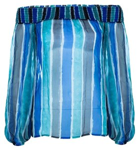 Versace Striped Silk Top Multicolor