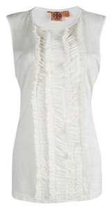 Tory Burch Ruffle Acrylic Nylon Wool Top White