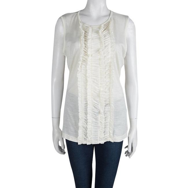 Tory Burch Ruffle Acrylic Nylon Wool Top White Image 1