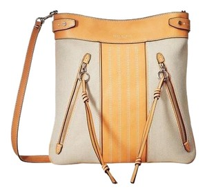 Tory Burch Moto Swingpack Tan&canvas Cross Body Bag