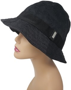 Gucci Black Gucci GG web monogram bucket hat M