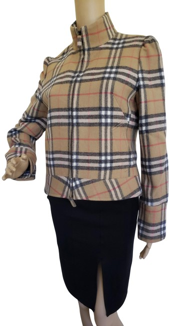Item - Beige Multicolor Nova Check Wool Casual Jacket Size 8 (M)