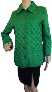 Burberry Nova Check Plaid Gold Hardware Quilted House Check Green Jacket