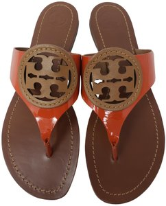 Tory Burch Gold Hardware Miller Reva Logo Patent Leather Brown Sandals