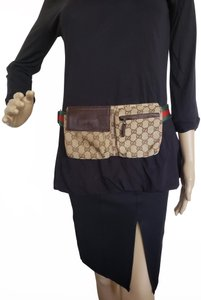 Gucci Beige brown GG web canvas Gucci belt bag