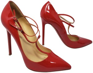 Christian Louboutin Pointed Toe Patent Leather Pigalle So Kate V Neck Red Pumps