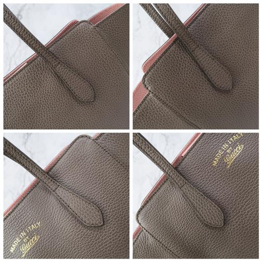 Gucci Swing Small Calfskin Tote in Taupe Image 7