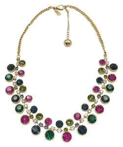Kate Spade 16k Gold Plated Gumdrop Crystal Jewel Statement Necklace