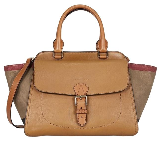 Item - Brit Grainy Canvas Check Medium Harcourt Multi ( Saddle Brown) Leather Tote