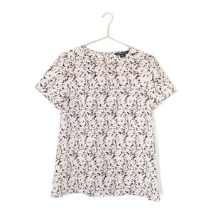 French Connection Print Keyhole Preppy Date Night Top pink, navy
