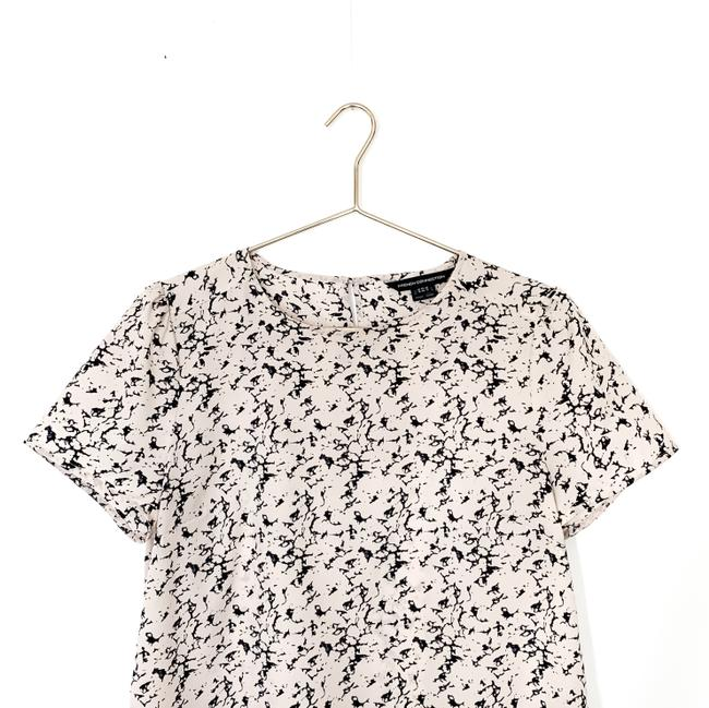 French Connection Print Keyhole Preppy Date Night Top pink, navy Image 2