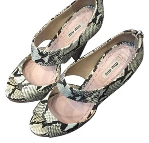 Miu Miu Black/White/Gray Sandals