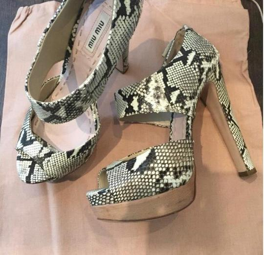 Miu Miu Black/White/Gray Sandals Image 2
