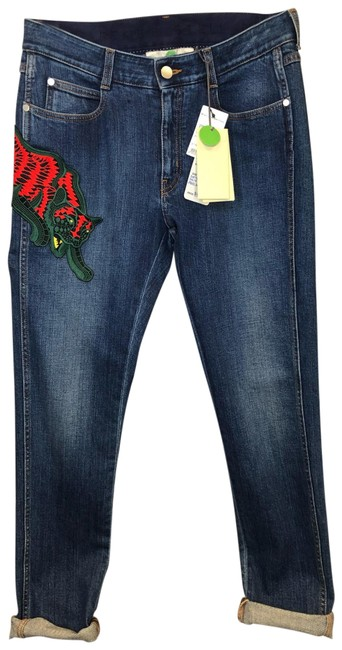 Item - Dark Blue Medium Wash Classic with Appliqué Skinny Jeans Size 6 (S, 28)