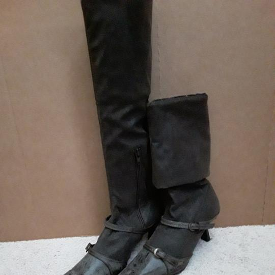 Carla Gourov Dark brown leather stretch Boots Image 1
