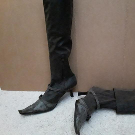 Carla Gourov Dark brown leather stretch Boots Image 3