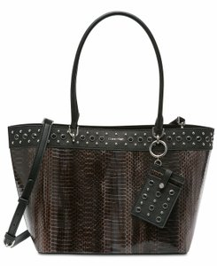 Calvin Klein Studded Faux Leather (Pvc) Card Case Snakeskin Tote in Brown