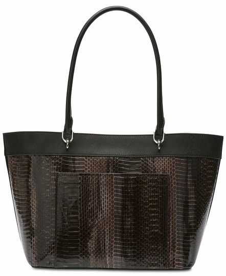 Calvin Klein Studded Faux Leather (Pvc) Card Case Snakeskin Tote in Brown Image 1