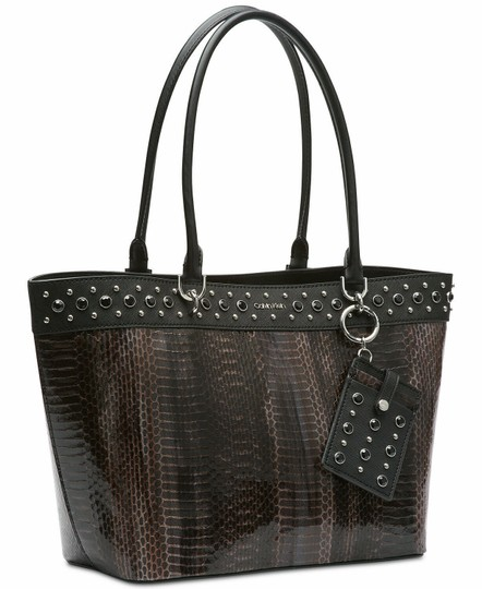 Calvin Klein Studded Faux Leather (Pvc) Card Case Snakeskin Tote in Brown Image 2