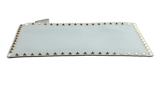 Valentino Leather Silver Hardware Wristlet in Blue Image 3
