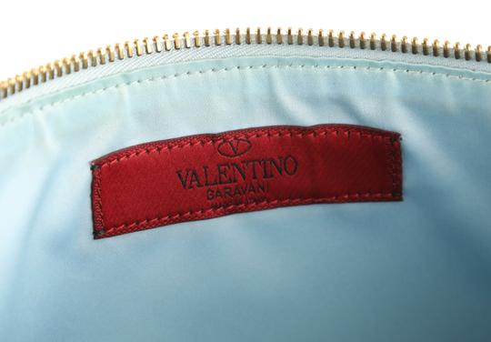 Valentino Leather Silver Hardware Wristlet in Blue Image 9