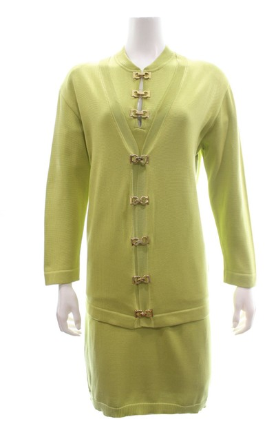 Item - Green Cotton Knit Cardigan Set Mid-length Work/Office Dress Size 16 (XL, Plus 0x)