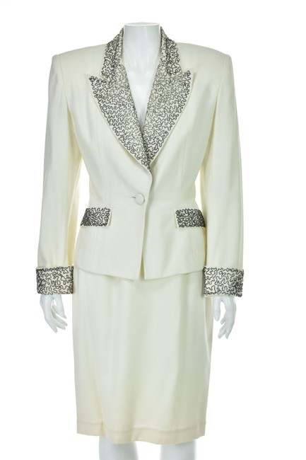Preload https://img-static.tradesy.com/item/25859097/unique-vintage-off-white-wool-with-silver-beading-evening-skirt-suit-size-10-m-0-0-650-650.jpg