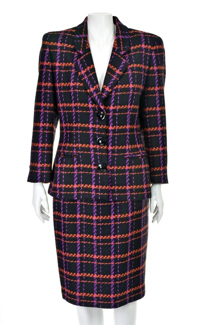 Lillie Rubin Magenta & Orange Windowpane Plaid Wool Image 0