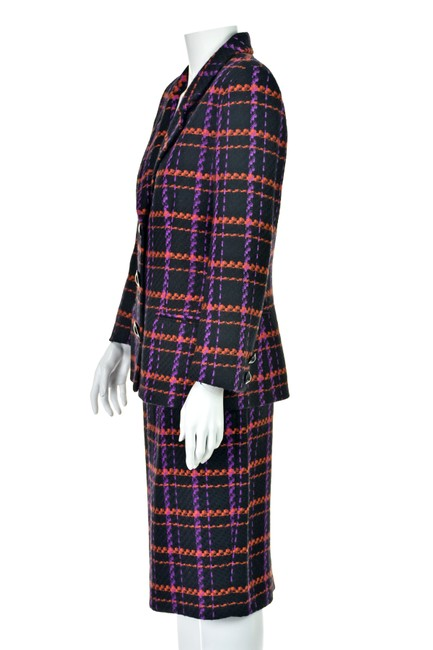 Lillie Rubin Magenta & Orange Windowpane Plaid Wool Image 2