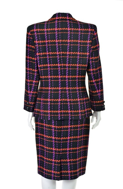 Lillie Rubin Magenta & Orange Windowpane Plaid Wool Image 3