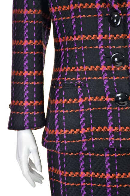 Lillie Rubin Magenta & Orange Windowpane Plaid Wool Image 4