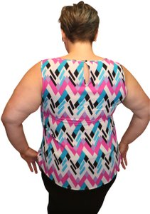 Nine West Peplum Colorful Business Flair Top Multicolored