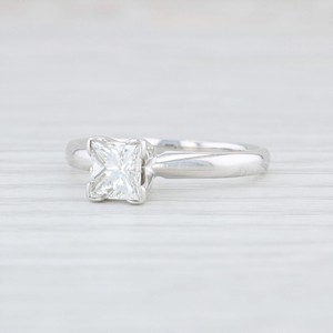 White Gold .72ct Princess Solitaire Diamond - 14k Size 5.5 Engagement Ring