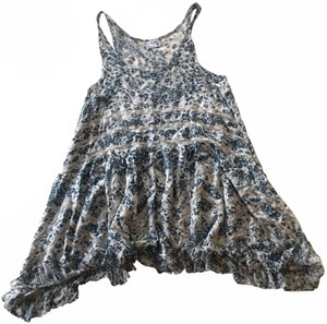 Free People short dress Blue, White Tunic Lace Floral on Tradesy