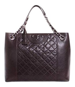 Tory Burch Mahogany Fleming Leather Tote in Dark Brown