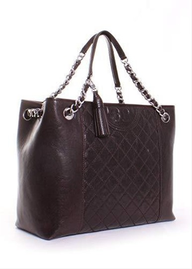 Tory Burch Mahogany Fleming Leather Tote in Dark Brown Image 1