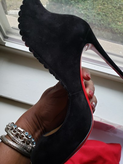 Christian Louboutin Scalloped Black Suede Pumps Image 11