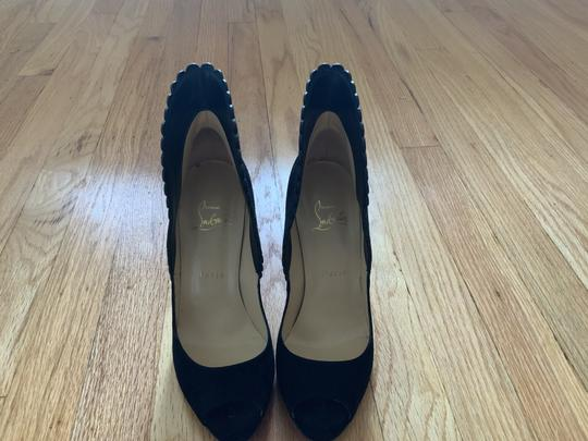 Christian Louboutin Scalloped Black Suede Pumps Image 3