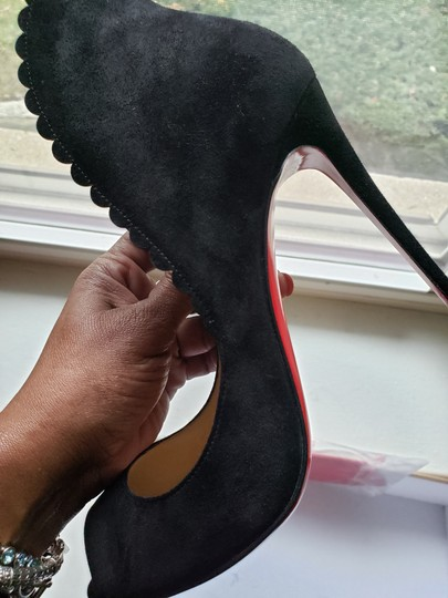 Christian Louboutin Scalloped Black Suede Pumps Image 5