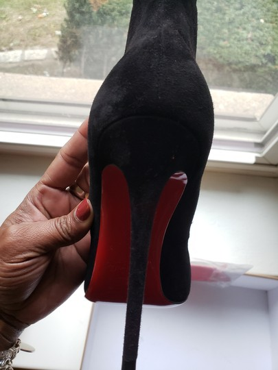 Christian Louboutin Scalloped Black Suede Pumps Image 6