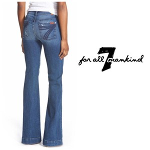 7 For All Mankind Short Denim Distressed Trouser/Wide Leg Jeans-Distressed