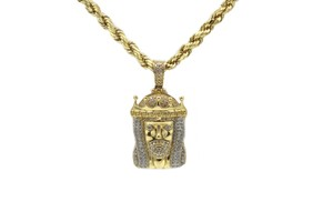 Other (2166) 14K Yellow Gold CZ Jesus Pendant With Hollow Rope Chain